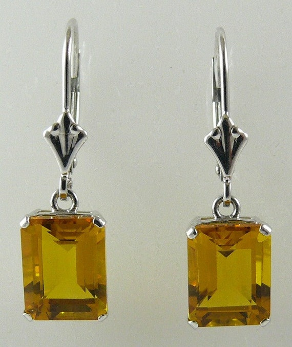 Citrine Earrings 4.57ct 14k White Gold Lever Backs