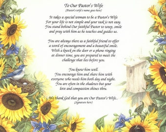 Pastor's Wife Personalized Poem of Appreciation