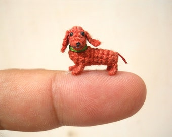 Miniature Dachshund Sausage Dog - Teeny Tiny Dollhouse Crochet Pet - Made To Order