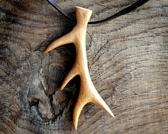 Antler Necklace, Wooden Pendant Hand Carved. Deer Antler Pendant, Deer Antler Jewelry, Antler Necklace, necklace for men, Tribal, Surfer