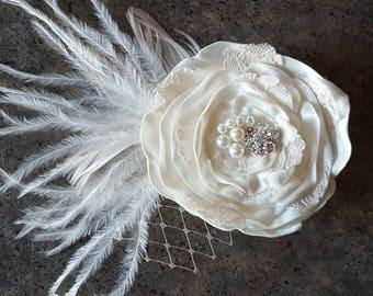 Headpiece, Wedding Fascinator, Bridal Hair Piece, Floral Headpiece,  Floral Headpiece, Wedding Hairpiece, Champagne Headpiece, Floral Hair