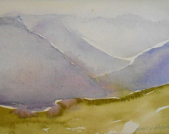 Original watercolor abstract landscape Blue Ridge Mountains Virgina matted