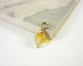 14k Gold Pendant - 14k Gold Charms - Wire Wrapped Jewelry Handmade - November Birthstone Jewelry - Natural Citrine Pendant - Leaf Pendant
