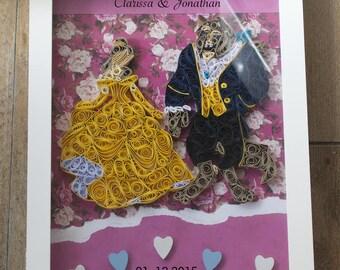Alternative Wedding Guest Books / Disney Wedding / Beauty and the Beast Wedding Guest Book / Disney Frame / Disney Quilling Display Box