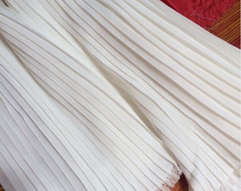 """3 Meters 150CM 59"""" Wide off white Ruffled Pleated Chiffon Fabric Solid Dress Clothes Materials LX88 1/0.5 Free Ship"""