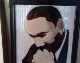 "Martin Luther King Portrait  Felt on Cotton  18 x 22"" You Frame"