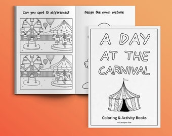 A Day at the Carnival [INSTANT DOWNLOAD] - Activity Book for Kids - printable, coloring page, DIY, party favors, games, children, birthday