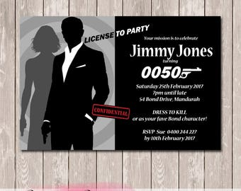 James Bond 007 Birthday Invitation - YOU PRINT