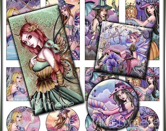 Fantasy Digital Collage Sheet No. 3-Printable Fairy, Mermaid, and Witch Images-1x2 Rectangles-1x1 Squares-1x1 Circles-PERSONAL USE ONLY