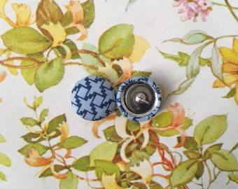Fabric Button Earrings / Blue / Wholesale Jewelry / Geometric / Small Gifts for Her / Nickel Free Posts / Birthday Present / Made in NYC