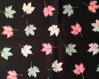 Fabric 1 Yard 14 inches Changing Colors Fall Maple Leaves on Black Quilting Cotton Sewing