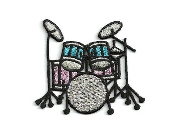 Drum - Drums - Band - Music - Drummer - Pink/Black/Silver/Turquoise Embroidered Iron On Patch