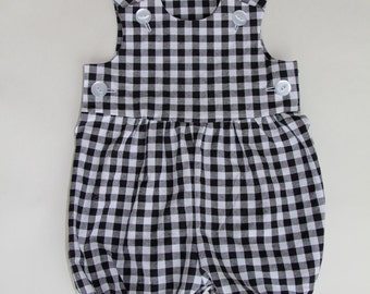 Gender neutral baby romper - black gingham