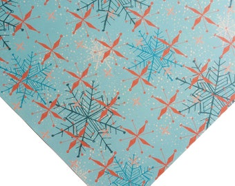 Christmas Retro Snowflakes Wrapping Paper