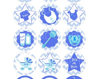 Baby shower mix images template  -  baby shower IMAGES cup cake topper and wrapper set  blue Baby accessories printable baby shower template