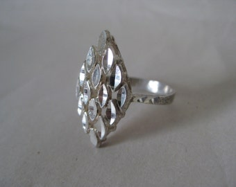 Diamond Filigree Sterling Ring Vintage 5 925 Silver