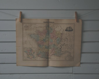1887 Vintage Map of France in Feudal Time