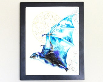 Bat Art Print, Galaxy Spirit Animal Totem Guide 8x10