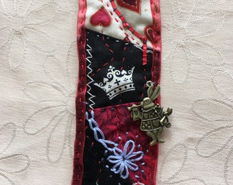 Queen of Hearts Crazy-Quilted Bookmark