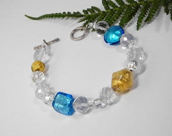 Genuine Italian Murano Glass Beaded Bracelet in Gold and Turquoise, Handmade Glass from Italy, Italian Inspired Jewelry with Sterling Clasp