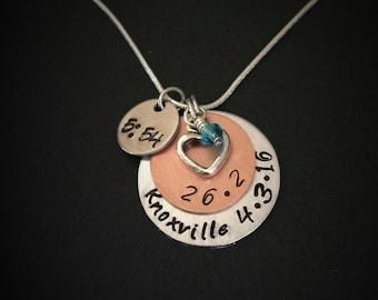 hand stamped Full Marathon Necklace-Personalized-Marathon Charm-Marathon Pendant-Full Marathon Jewelry-26.2 Marathon