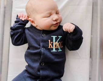 Monogrammed footie, baby coming home outfit, take me home outfit, sleeper, personalized baby shower gift, organic cotton, footie and cap