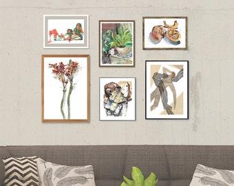 Botanical And Food Art Gallery Wall Set Of 6 Prints Orange Green