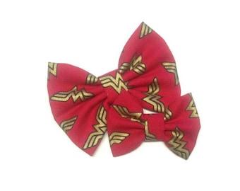 Wonder Woman Bow | Fabric Bow | Handmade Hair Bow | Hair Clip | Headband