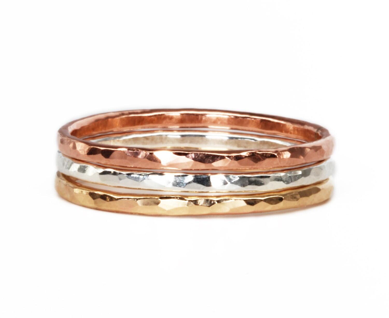 Mixed Metallringe Stapeln Ringe gehämmert Gold Ring Silber