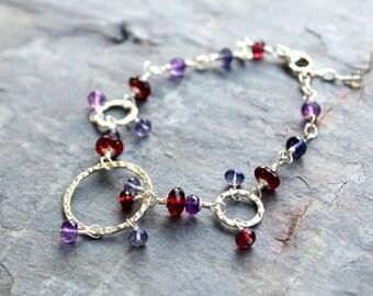 Gemstone Bracelet Sterling Silver Garnet Iolite Amethyst Purple Red Blue Hammered Links