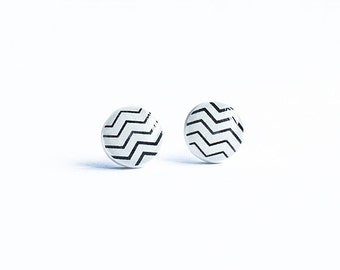 Chevron earrings studs zig zag earrings studs minimalist jewelry