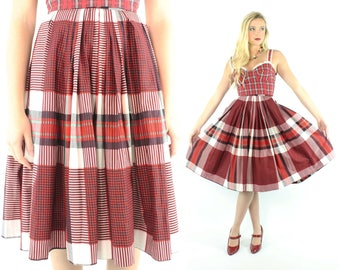 50s Full Red Plaid Pleated Skirt High Waisted Vintage 1950s Small S Pinup Rockabilly 1960s