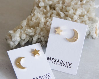Crescent and Star Earrings