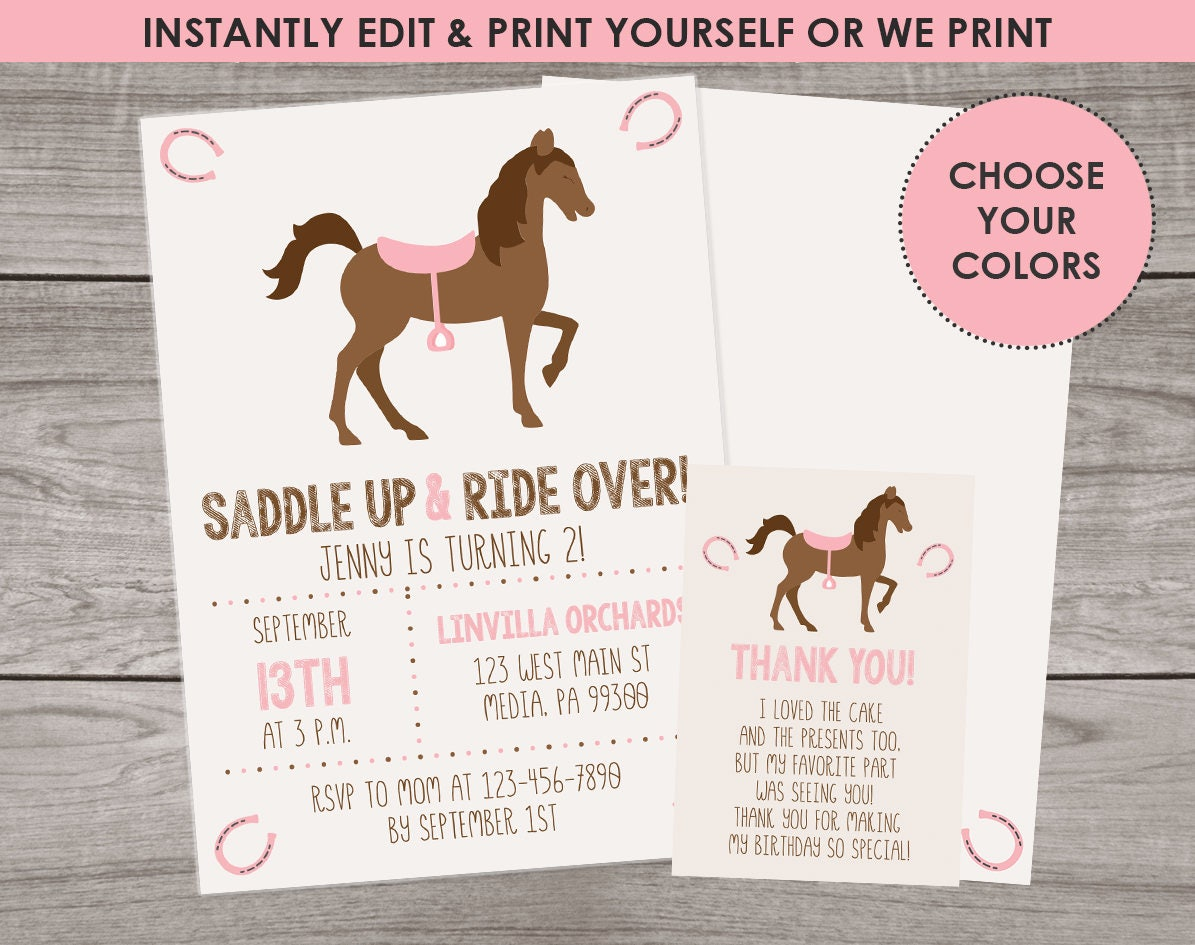 Pony Party Invitations Edit and Download with Templett