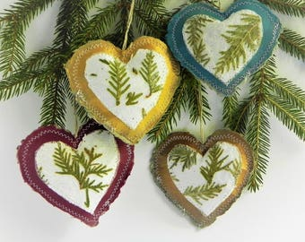 Christmas heart ornaments paper hanging tree decorations Christmas gift holiday rustic home decor set of 4