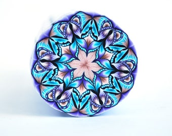 Polymer Clay Cane Kaleidoscope, raw and unbaked cane, round cane, Millefiori, Fimo Premo cane