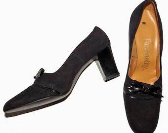 1960s Womens Black Suede Patent Trim Pump Shoes Sz 8AAUS Hippie Vintage Retro