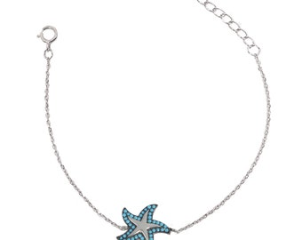 sterling silver 925 bracelet, turquoise sea star, summer fashion