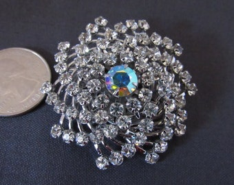 Judy Lee Vintage Signed Domed Rhinestone with Aurora Borealis Swirl Brooch