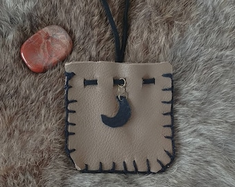 Leather Pouch with Moon