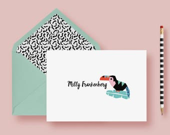 Tropical Parrot Thank You Cards, Foldover Stationery Set, Personalized Notes, Custom Note Cards, Birthday Gift, Printable or Printed