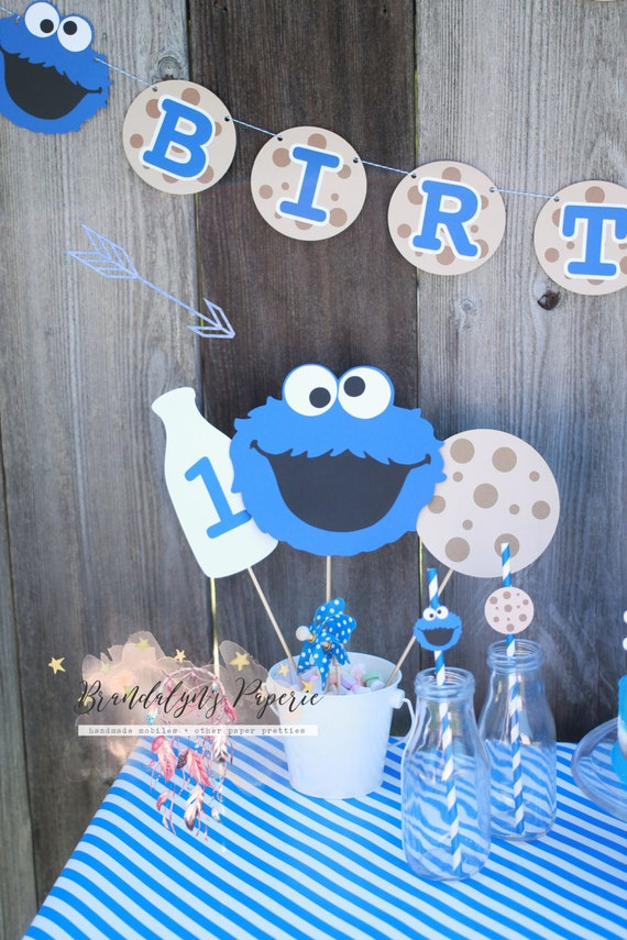 Cookie monster centerpieces cookie monster milk and cookies like this item voltagebd Images