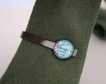 Custom Map Tie Bar Personalized Necktie Bar Gunmetal Black Tie Bar with Custom Piece of the World Map Mens Accessories Office Wear