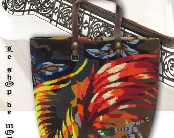 French Tapestry Purse, Canvas Handbag Seventies, Le Scarlett
