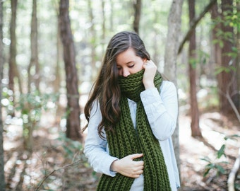 Long Scarf Open Ended Chunky Ribbed Knit Oversized // The MONUMENT