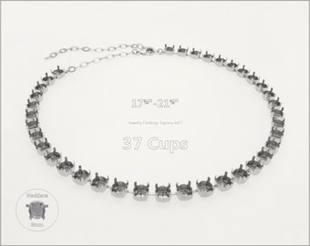 1 pc.+ 37 Cups, SS39 (8mm) Empty Cup Chain for Necklace - Rhodium color