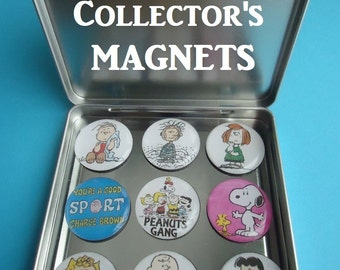 "Peanuts (9)  1"" Frig Magnets Charlie Brown Magnets Charlie Brown Gang Frig Magnets Awesome Collector Gift  Magnetic Tin Snoopy Red Baron"
