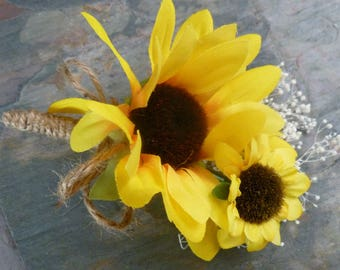 Sunflower corsage, boutonniere, button hole with baby's breath