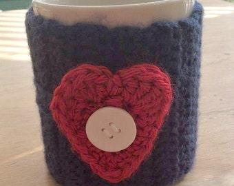 Crochet Heart Coffee Cup Cozy