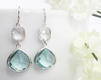 Aquamarine Earrings, Dangle Earrings, Drop Earrings, Mothers Day Gift, Wife Gift, Wedding Earrings, Earrings for Mom, Bridesmaid Earrings